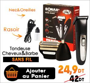 Tondeuse Cheveux-Nez-Oreille 3en1 Sans Fil SONAR SN-6018