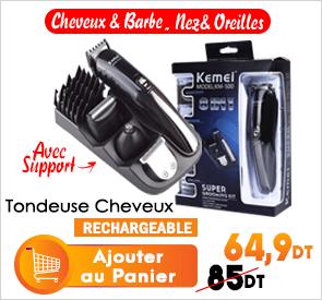Tondeuse Cheveux Professionnelle 8en1 Sans Fil KEMEI KM-500K