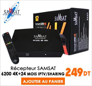 Récepteur SAMSAT 6200 4K 24Mois IPTV + 24Mois SHARING + 24Mois APOLLO