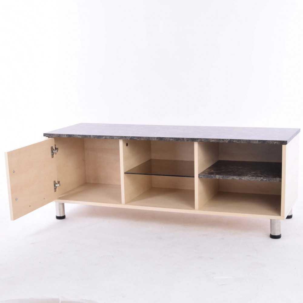 Hauteur Meuble Tele meuble tv oryxo bois - marbre foncé 650650